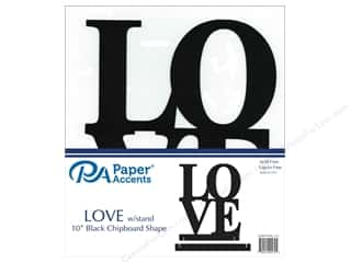 Clearance: Paper Accents Chipboard Shape 1 pc. 10 in. Love Black