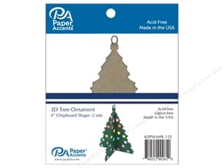 Clearance: Paper Accents Chipboard Shape 2 pc. 4 in. 3D Ornament Tree Natural