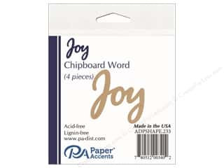 scrapbooking & paper crafts: Paper Accents Chipboard Word Joy 4 pc. Natural