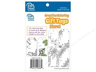string: Paper Accents Creative Coloring Tags 2 x 3 3/4 in. 12 pc. Floral
