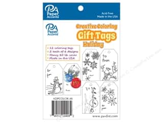 Gifts & Giftwrap: Paper Accents Creative Coloring Tags 2 x 3 3/4 in. 12 pc. Holiday