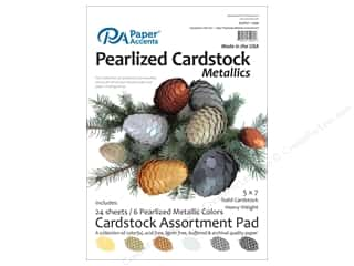 scrapbooking & paper crafts: Paper Accents 5 x 7 in. Cardstock Pad 24 pc. Pearlized Metallics