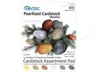 scrapbooking & paper crafts: Paper Accents 8 1/2 x 11 in. Cardstock Pad 24 pc. Pearlized Metallics