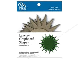 scrapbooking & paper crafts: Paper Accents Layered Chipboard Shapes Starburst 6 pc. Natural
