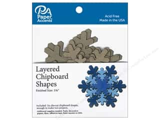 Paper Accents Layered Chipboard Shapes Snowflake 6 pc. Natural