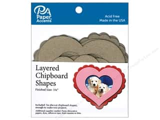 Clearance: Paper Accents Layered Chipboard Shapes Hearts 6 pc. Natural