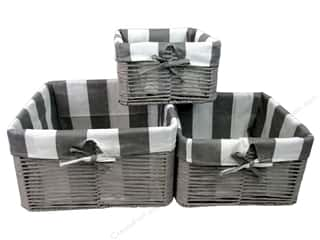 novelties: Sierra Pacific Crafts Paper Baskets with Striped Fabric Liner 3 pc. Gray