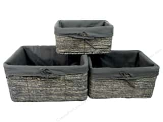 Sierra Pacific Crafts Decor Baskets Rectangle With Liner Set of 3 Gray