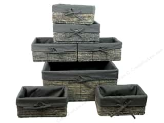 craft & hobbies: Sierra Pacific Crafts Baskets With Liner Set of 7 in 3 Sizes Gray