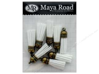 Maya Road Products Vintage Tassels Antique Gold Cap Milk White