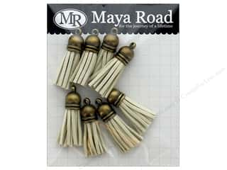 Maya Road Products Vintage Tassels Antique Gold Cap Sand Beige