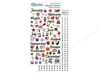 scrapbooking & paper crafts: Paper Accents Calendar Stickers Months & Numbers Medium Color