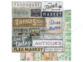 "scrapbooking & paper crafts: 7 Gypsies Collection Architextures Paper 12""x 12"" Market Signs (15 pieces)"