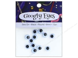 PA Essentials Sew On Googly Eyes 5/16 in. Round 12 pc. Black