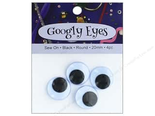 PA Essentials Sew On Googly Eyes 13/16 in. Round 4 pc. Black