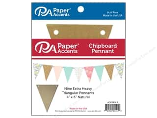 scrapbooking & paper crafts: Paper Accents Chipboard Pennants 4 x 6 in. 9 pc. Natural