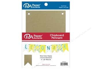 scrapbooking & paper crafts: Paper Accents Chipboard Pennants 5 x 8 in. Two Point 9 pc. Natural