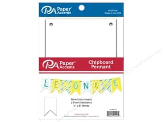 scrapbooking & paper crafts: Paper Accents Chipboard Pennants 5 x 8 in. Two Point 9 pc. White