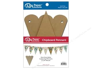 Paper Accents Chipboard Pennants 6 x 9 in. Scalloped Top 9 pc. Natural