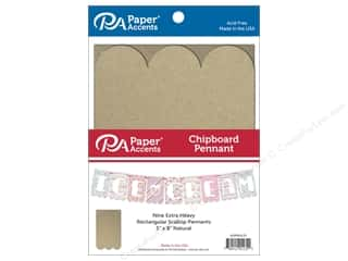 Paper Accents Chipboard Pennants 5 x 8 in. Scallop Rectangle 9 pc. Natural