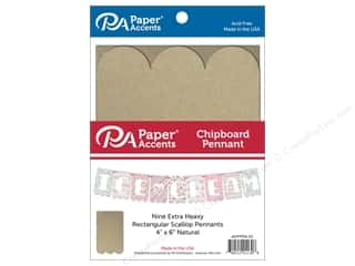 Paper Accents Chipboard Pennants 4 x 6 in. Scallop Rectangle 9 pc. Natural