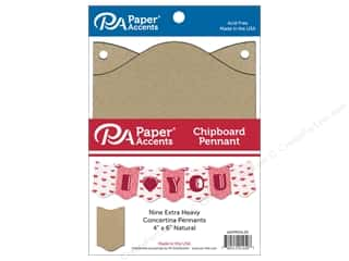 scrapbooking & paper crafts: Paper Accents Chipboard Pennants 4 x 6 in. Concertina 9 pc. Natural