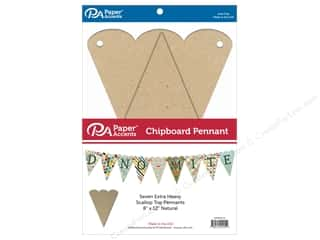 scrapbooking & paper crafts: Paper Accents Chipboard Pennants 8 x 12 in. Scallop Top 7 pc. Natural