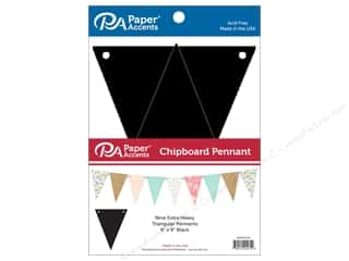 Paper Accents Chipboard Pennants 6 x 9 in. 9 pc. Black