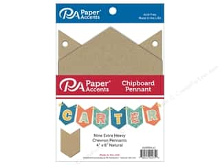 scrapbooking & paper crafts: Paper Accents Chipboard Pennants 4 x 6 in. Chevron 9 pc. Natural