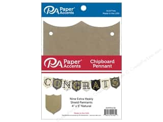 scrapbooking & paper crafts: Paper Accents Chipboard Pennants 4 x 5 in. Shield 9 pc. Natural