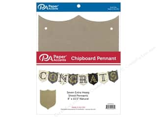 Paper Accents Chipboard Pennants 8 x 10 1/2  in. Shield 7 pc. Natural