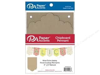 Paper Accents Chipboard Pennants 4 x 6 in. Floral Scallop 9 pc. Natural