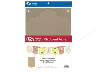 Paper Accents Chipboard Pennants 8 x 12 in. Floral Scallop 7 pc. Natural