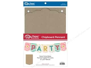Paper Accents Chipboard Pennants 8 x 12 in. Pointed Scallop 7 pc. Natural