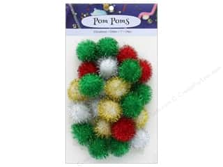 craft & hobbies: PA Essentials Pom Poms 1 in. Glitter Christmas 24 pc.