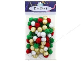 craft & hobbies: PA Essentials Pom Poms 1/2 in. Glitter Christmas 80 pc.