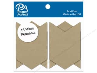 Paper Accents Chipboard Pennants 1 1/4 x 2 in. Micro Chevron 18 pc. Natural