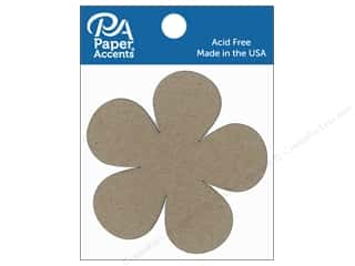 Clearance: Paper Accents Chipboard Shape Flower Power 8 pc. Natural