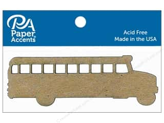 scrapbooking & paper crafts: Paper Accents Chipboard Shape School Bus 8 pc. Natural