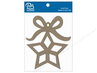 scrapbooking & paper crafts: Paper Accents Chipboard Shape Ornament Star with Bow 6 pc. Natural