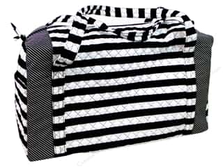 gifts & giftwrap: Darice Large Quilted Fabric Duffle Bag - Black & White Stripes