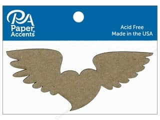 Paper Accents Chipboard Shape Heart with Wings 6 pc. Natural