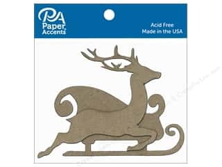 Clearance: Paper Accents Chipboard Shape Sleigh with Reindeer 8 pc. Natural
