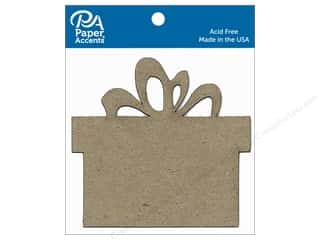 scrapbooking & paper crafts: Paper Accents Chipboard Shape Present 8 pc. Natural