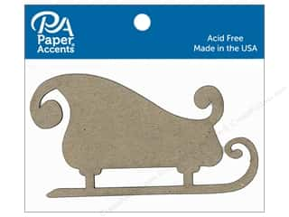 Paper Accents Chipboard Shape Sleigh 6 pc. Natural