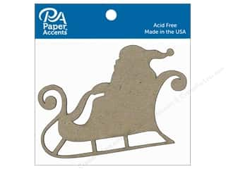 Clearance: Paper Accents Chipboard Shape Sleigh with Santa 6 pc. Natural