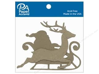 Clearance: Paper Accents Chipboard Shape Sleigh with Santa & Reindeer 8 pc. Natural