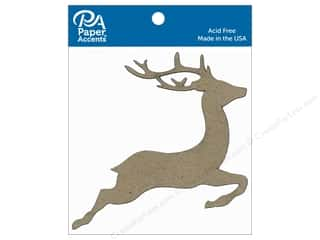 scrapbooking & paper crafts: Paper Accents Chipboard Shape Reindeer 8 pc. Natural