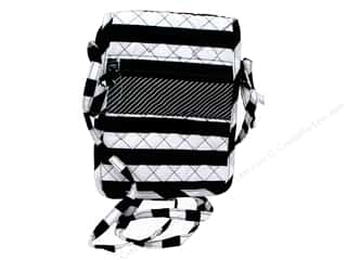 gifts & giftwrap: Darice Quilted Small Crossbody Hipster Bag - Black & White Stripes