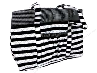 gifts & giftwrap: Darice Quilted Fabric Tote Bags - Black & White Stripes